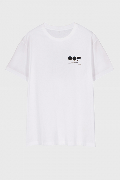 Men's crew neck t-shirt in white cotton with lateral logo