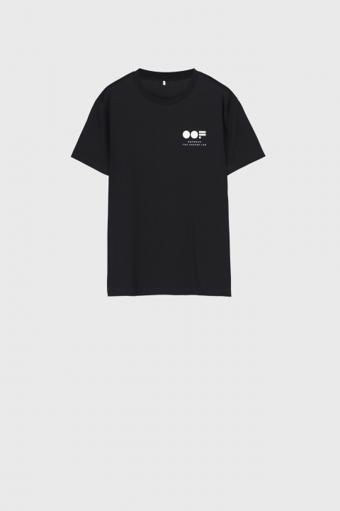 Men's crew neck t-shirt in black cotton with lateral logo