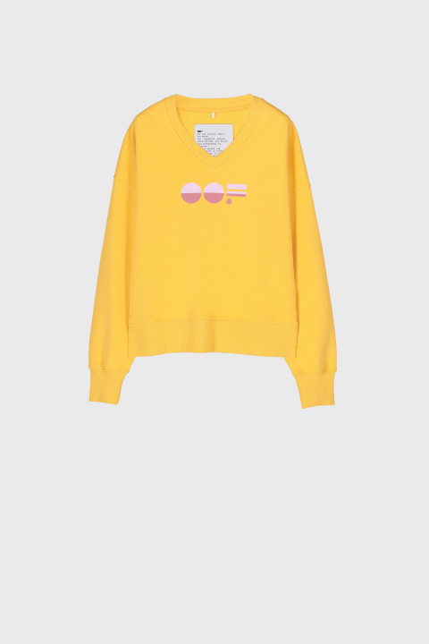Women's yellow cotton sweatshirt  with V neck