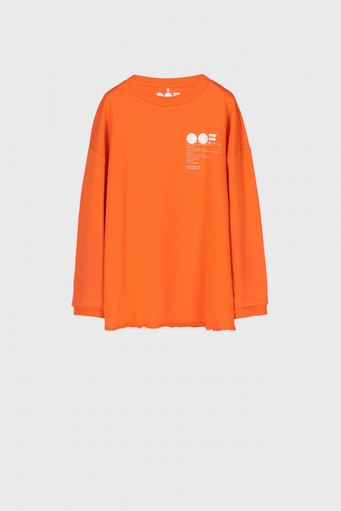 Women's oversized sweatshirt in orange cotton