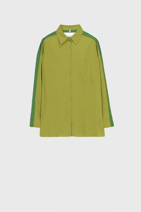 Women's oversized shirt style sweatshirt in green cotton and jersey
