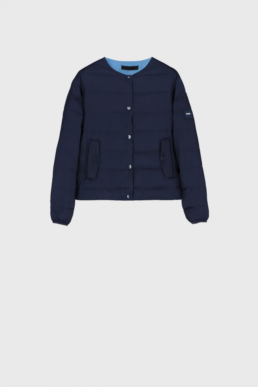 Short padded and reversible blouson in midnight blue and sky blue