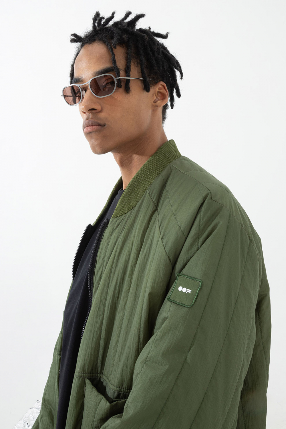 Men's padded oversized bomber jacket green/black