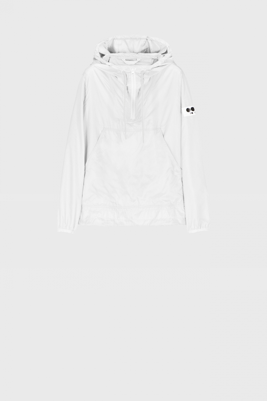 Unisex ultralight nylon sweatshirt with hood in white