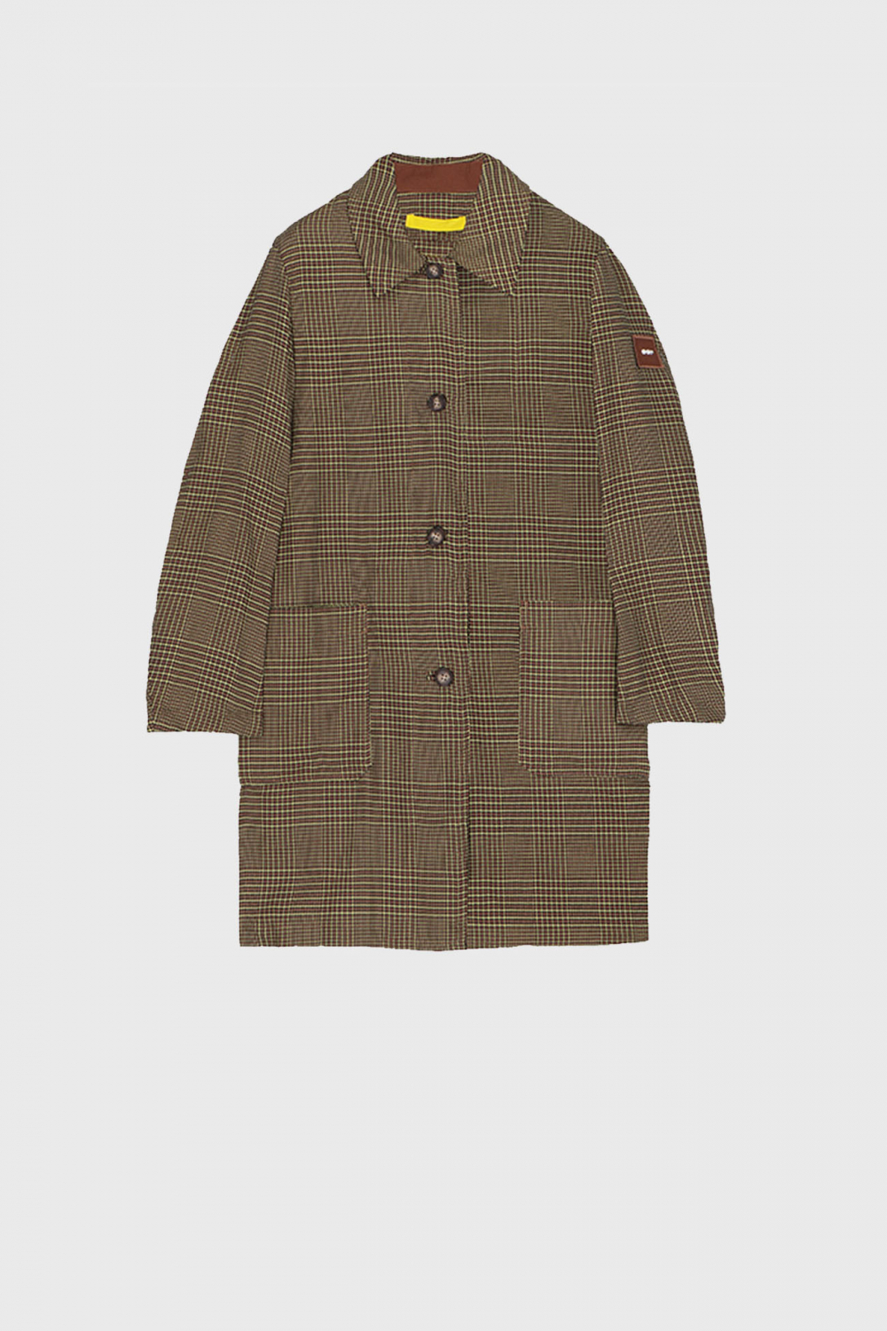 Men's long raincoat with shirt neckline in yellow check dyed yarn