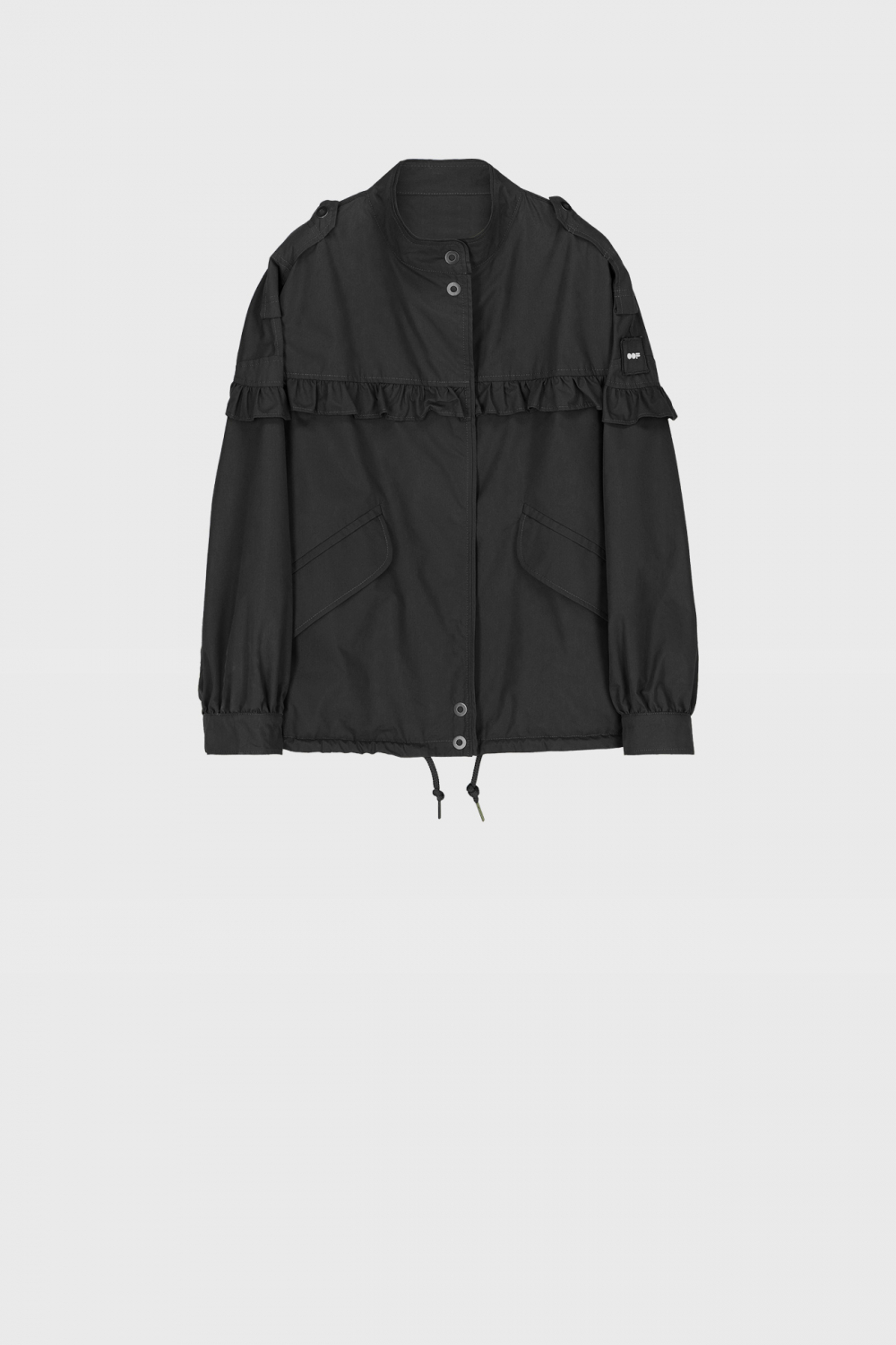 Short oversized blouson with ruches and drawstring in black