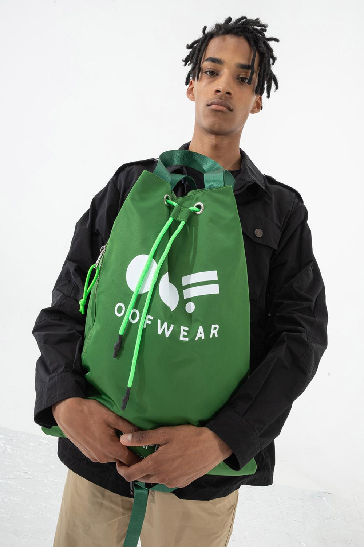 Shoulder bag with logo in green