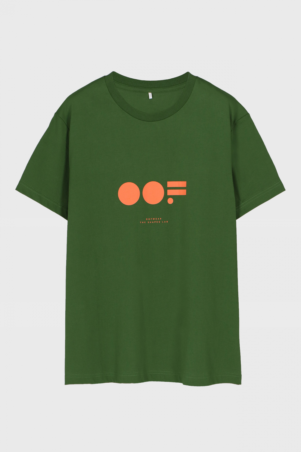 Men's crew neck t-shirt in green cotton with logo