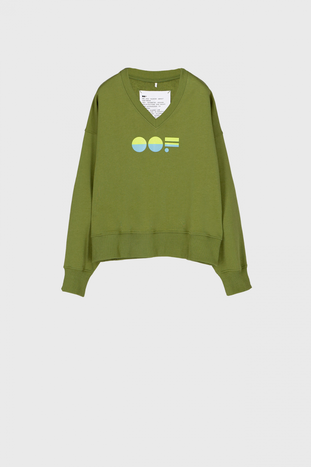 Women's green cotton sweatshirt  with V neck