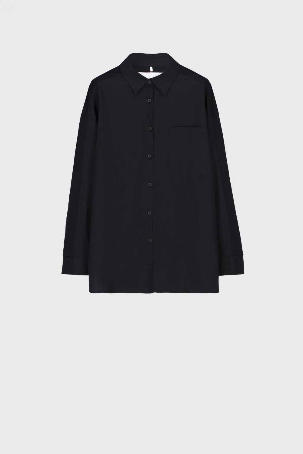 Women's oversized shirt style sweatshirt in black cotton and jersey