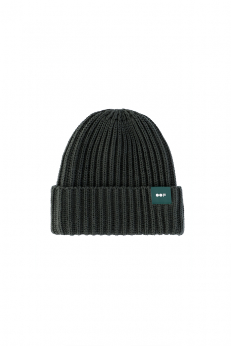 Beanie 3013 in green ribbed wool