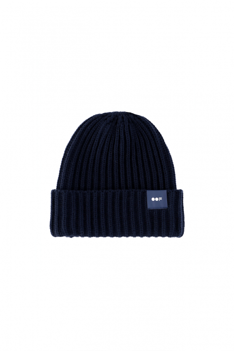 Beanie 3013 in blue ribbed wool