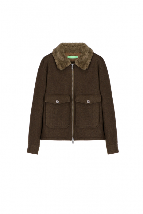 Short jacket 5004 in green wool blend