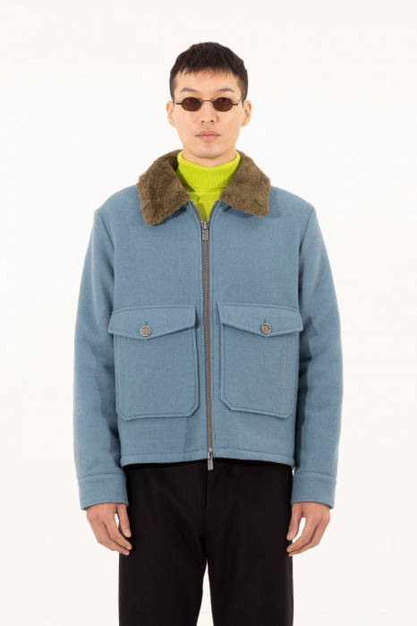 Short jacket 5004 in cerulean wool blend