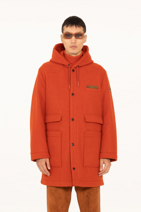 Long coat 5006 in rust wool blend