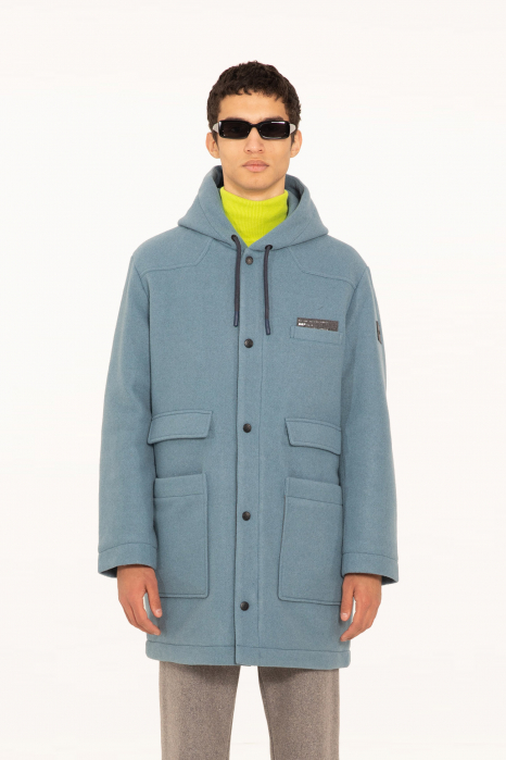 Long coat 5006 in cerulean wool blend