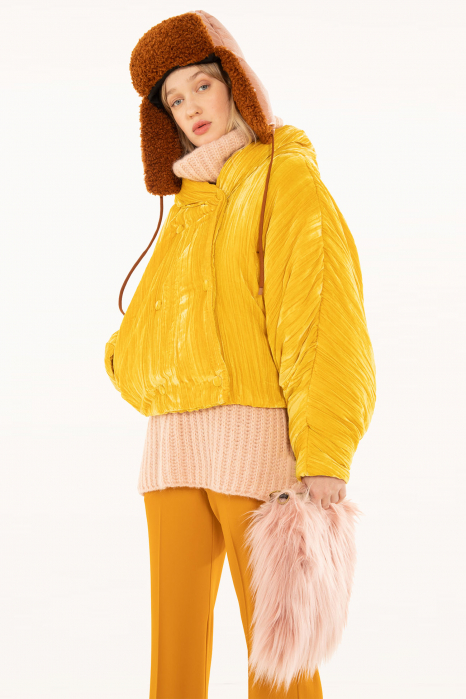 Short jacket 9001 in yellow velvet