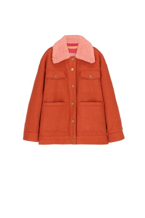 Short jacket 9003 in rust wool blend