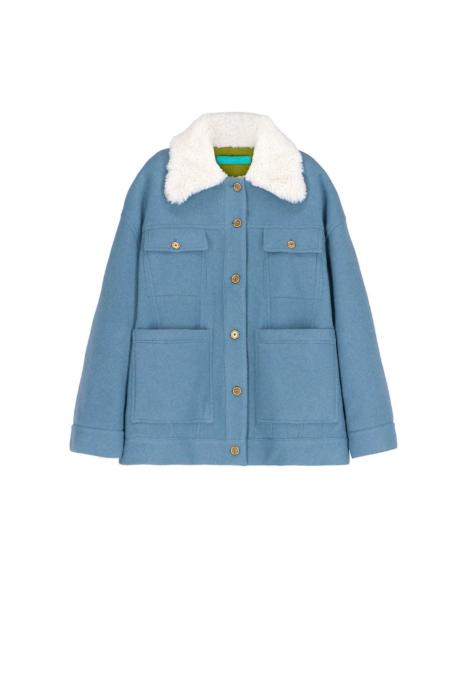 Short jacket 9003 in cerulean wool blend