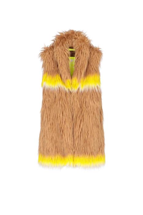 Long gilet 9004 in beige faux fur