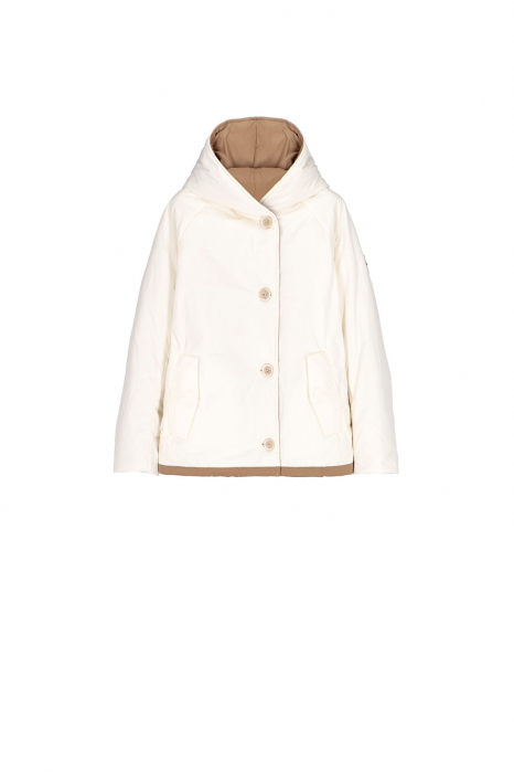 Short jacket 9006 in white/camel shape memory fabric