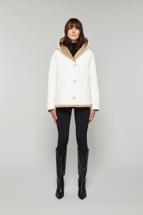 Short jacket 9006 in white/camel shape memory fabric