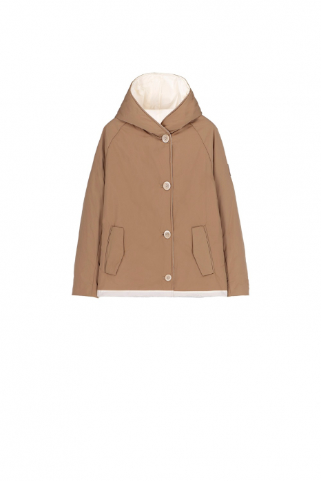 Short jacket 9006 in camel/white shape memory fabric