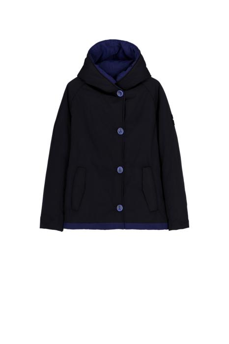 Short jacket 9006 in black/blue shape memory fabric