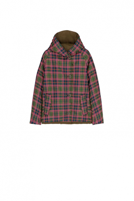Short jacket 9006 in check polyester and shape memory