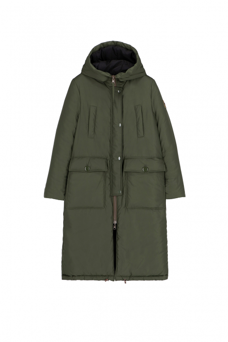 Long Parka 9280 in green/black nylon