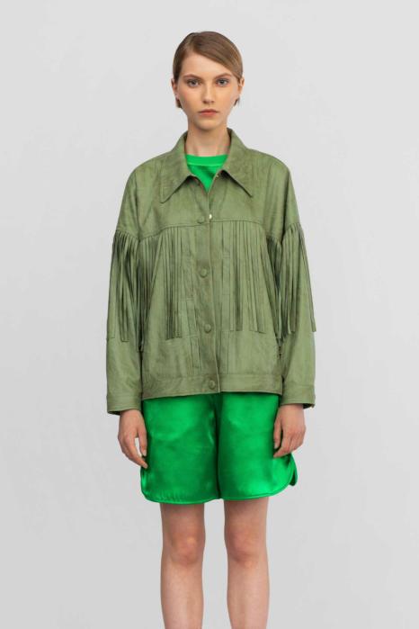 Short jacket 9021 in eco-suede pastel green