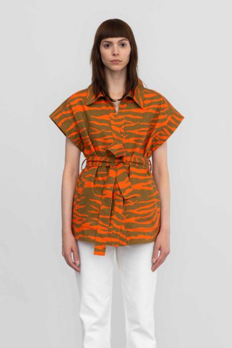 Gielt 9036 in zebra-striped cotton orange/mustard