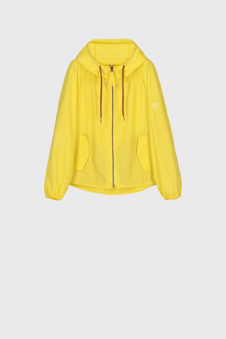 Women's oversized blouson with hood and drawstring in fluorescent yellow