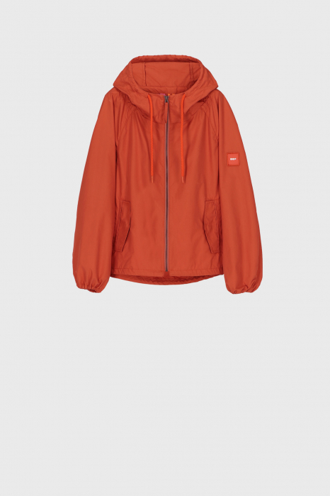 Women's oversized blouson with hood and drawstring in rust
