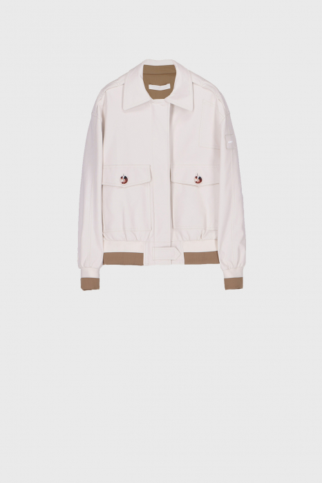 Women's eco-leather bomber jacket in natural white