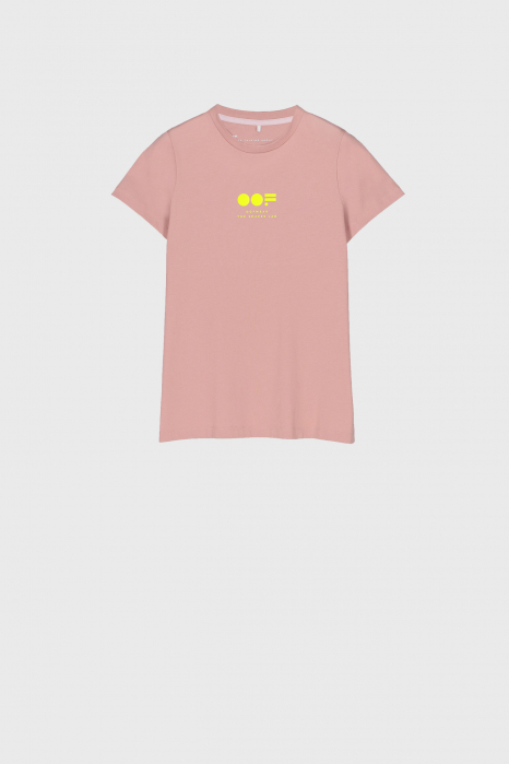 Women's slim fit t-shirt in pink cotton with logo