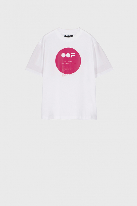 Women's crew neck t-shirt in white cotton with logo