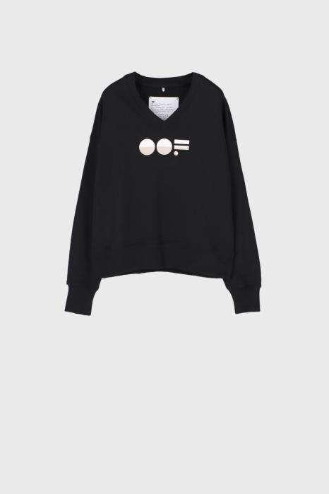 Women's black cotton sweatshirt  with V neck