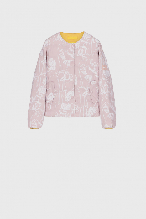 Short padded and reversible jacket with pink flowers print