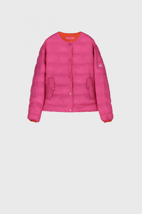 Short padded and reversible blouson in shocking pink and orange