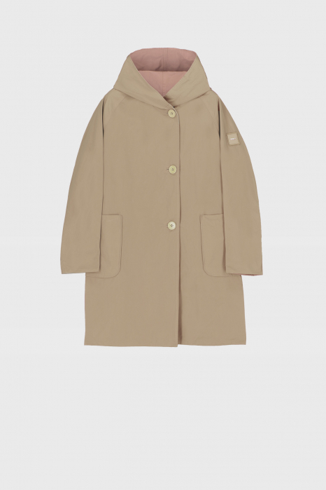 Reversible raincoat with hood in pink and beige