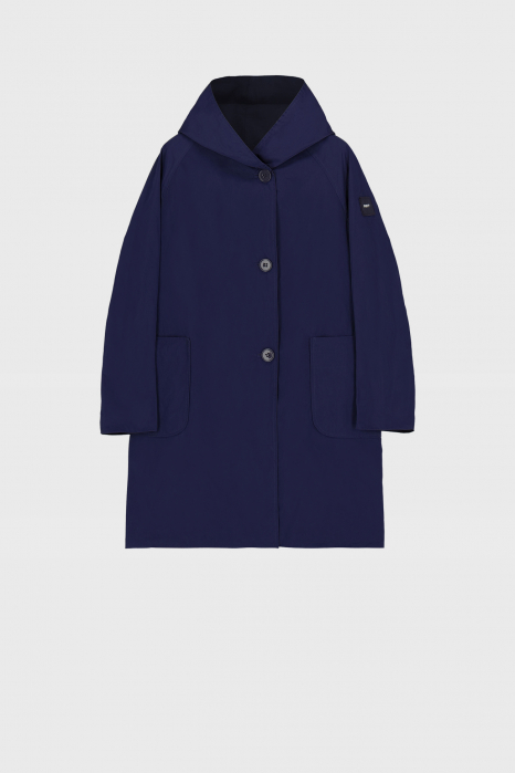 Reversible raincoat with hood in dark blue and royal blue