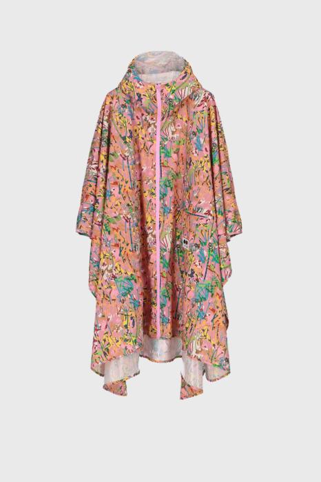 Women's waterproof cape with hood in pink pattern