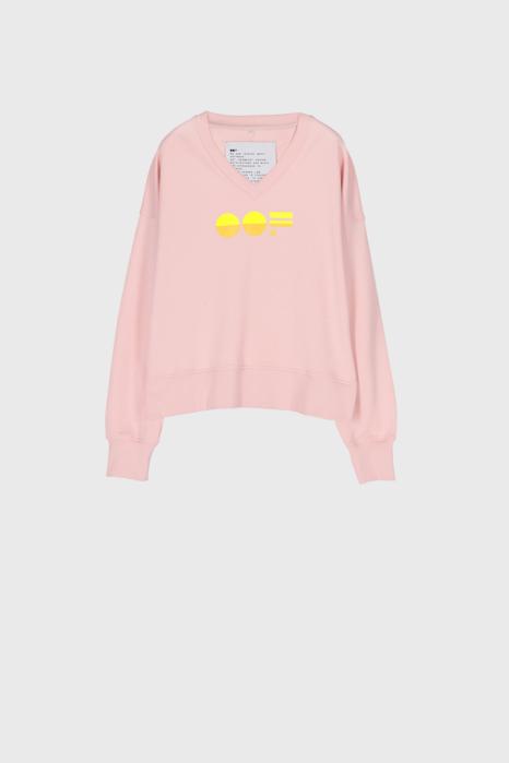 Women's pink cotton sweatshirt  with V neck