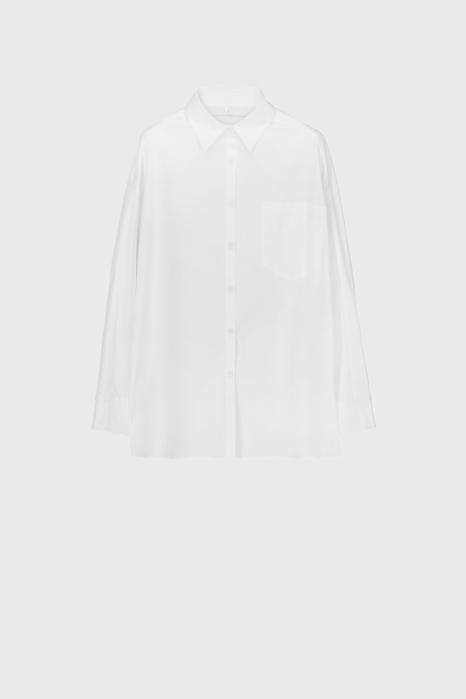 Women's oversized shirt style sweatshirt in white cotton and jersey