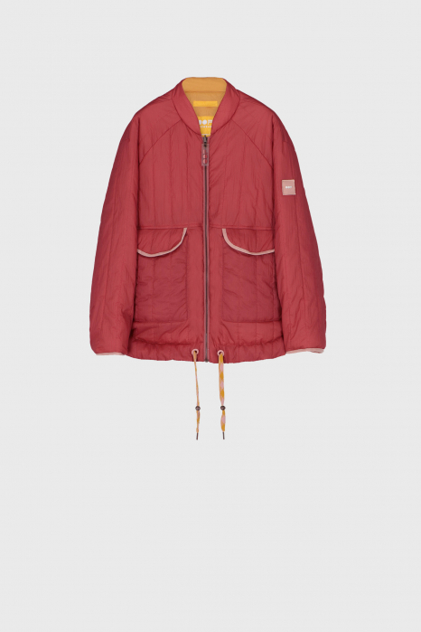 Women's padded reversible bomber jacket in pink and yellow