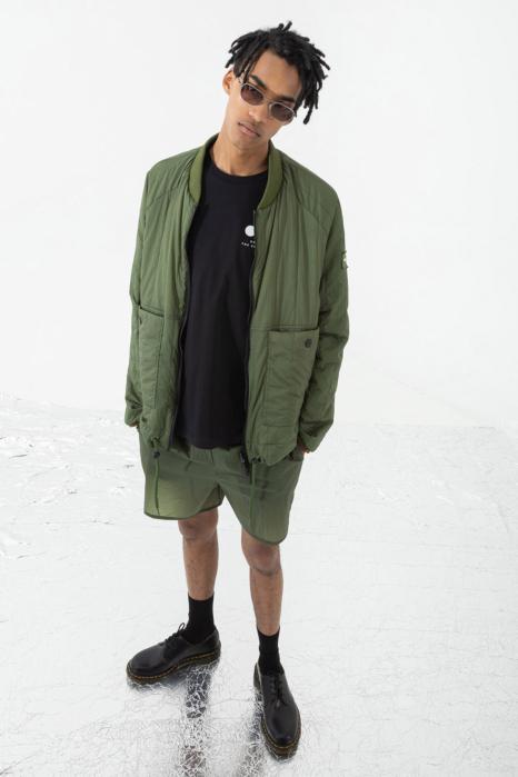 Men's padded oversized bomber jacket green/black
