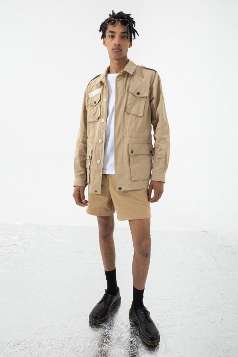 Men's short safari jacket in beige military style memory