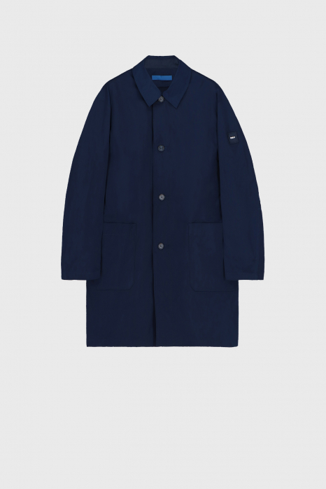 Women's long raincoat with shirt neckline in midnight blue
