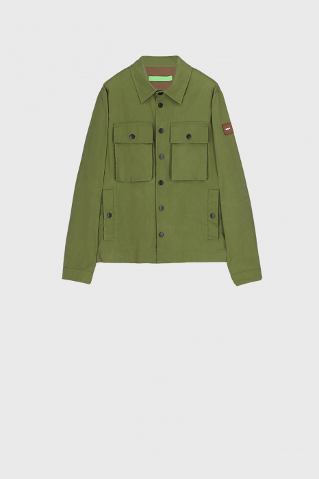 Men's shirt-style jacket in green cotton blend